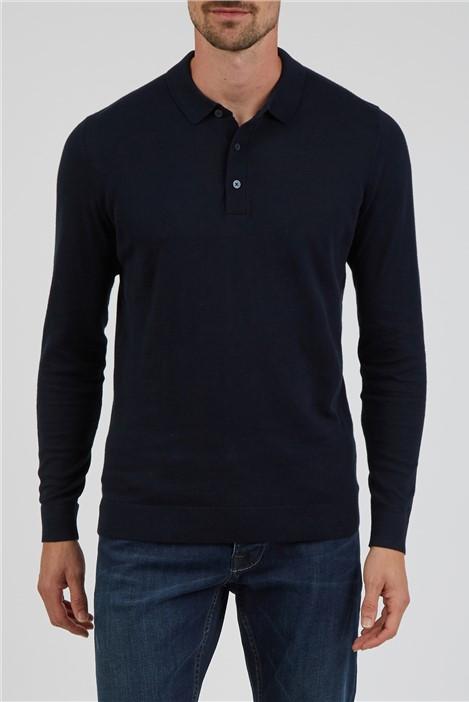 Jeff Banks Navy Long Sleeve Polo