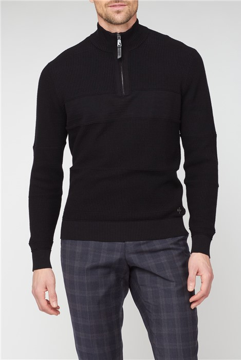 Jeff Banks Black Textured Half Zip