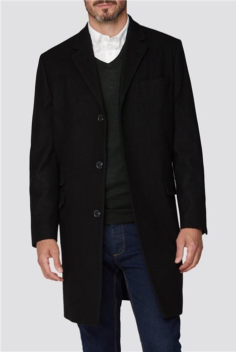 Racing Green Black Melton Overcoat
