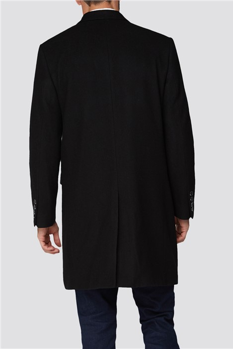 Racing Green Black Melton Overcoat