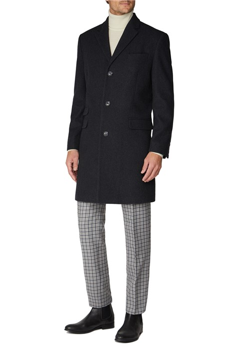 Racing Green Charcoal Melton Overcoat
