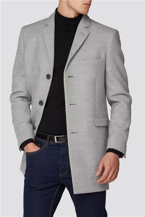 Limehaus Light Grey Melton Slim Fit Overcoat