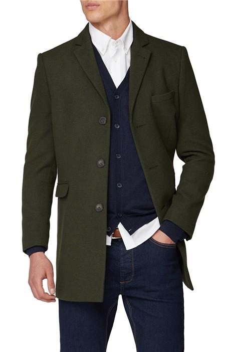 Limehaus Khaki Melton Slim Fit Overcoat