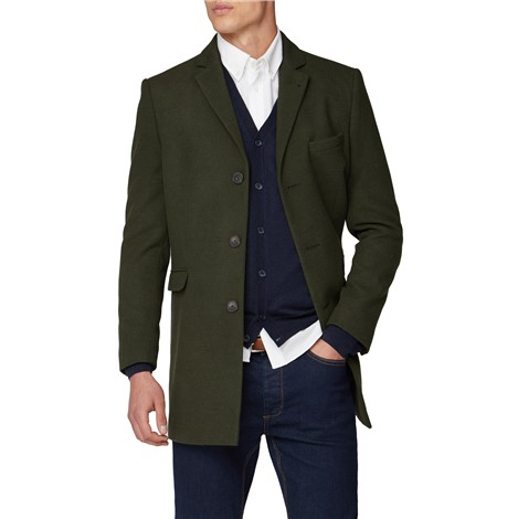 Limehaus Khaki Melton Slim Fit Overcoat