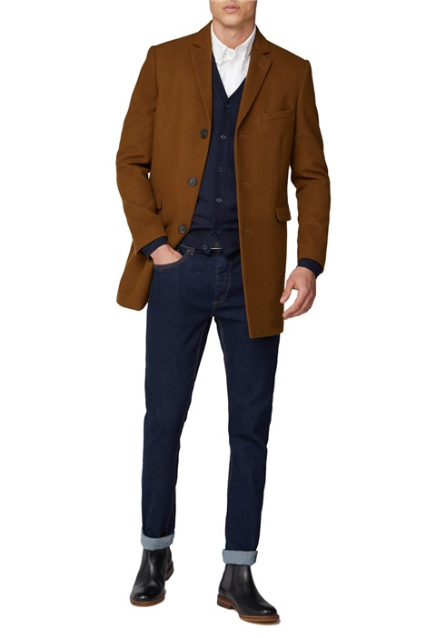 Limehaus Tan Melton Slim Fit Overcoat
