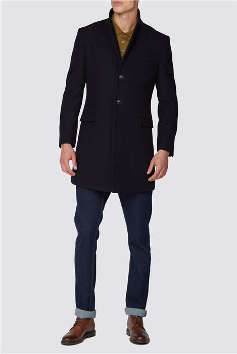 Ben Sherman Navy 3D structure overcoat