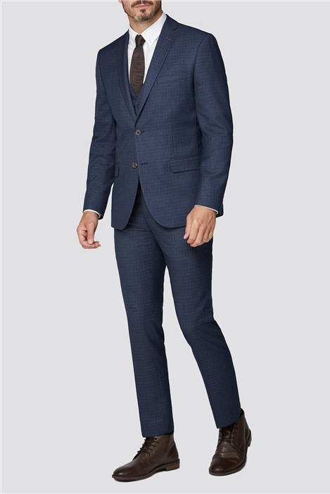 Limehaus Navy With Tan Mini Check Regular Fit Suit