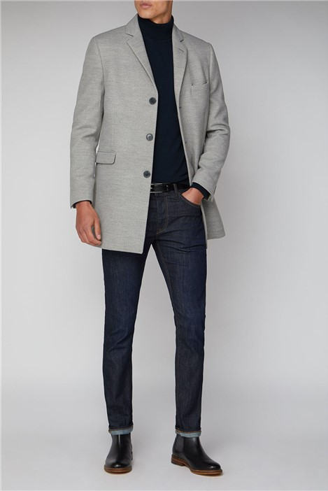 Limehaus Cool Grey Melton Overcoat