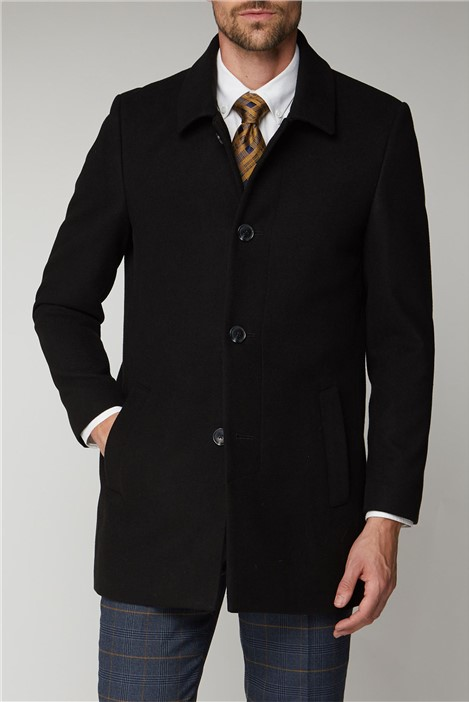 Scott & Taylor Black Melton Car Coat