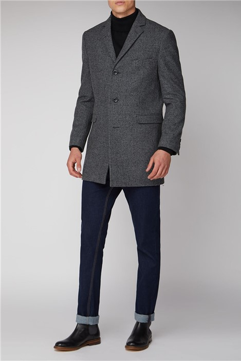 Ben Sherman Grey Semi Plain Regular Fit Overcoat