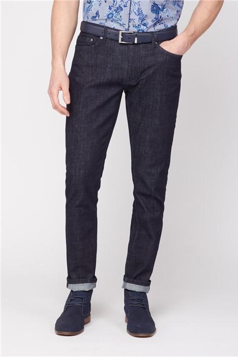 Jeff Banks Dark Blue Rinse Wash Straight Fit Stretch Jeans