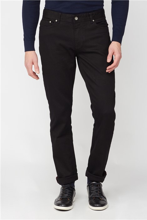 Jeff Banks Black Rinse Wash Straight Fit Stretch Jeans