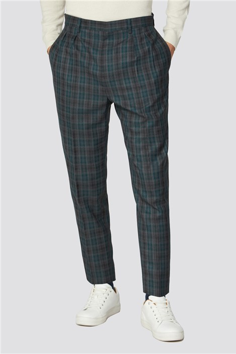 Limehaus Grey Teal Check Trousers