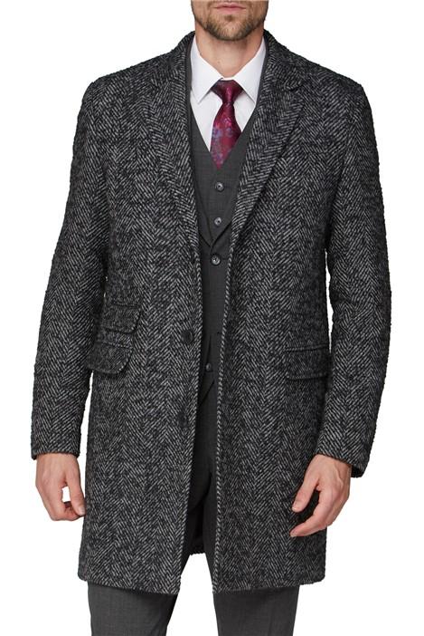 Jeff Banks Grey Herringbone Coat
