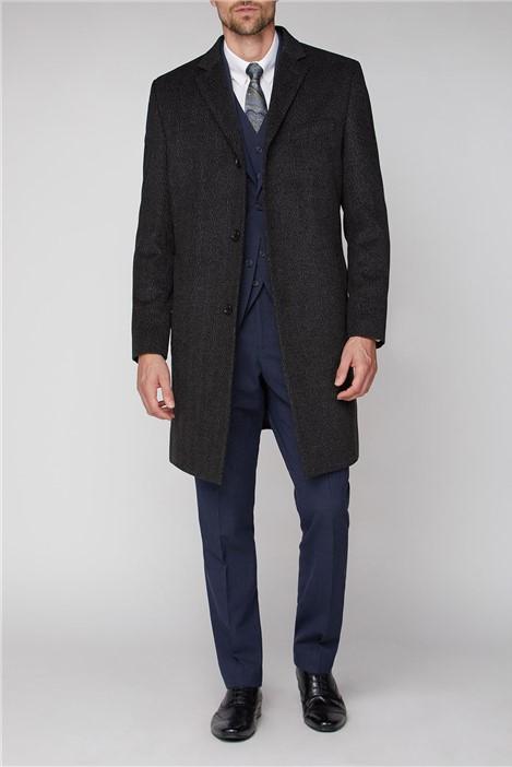 Jeff Banks Grey Textured Overcoat
