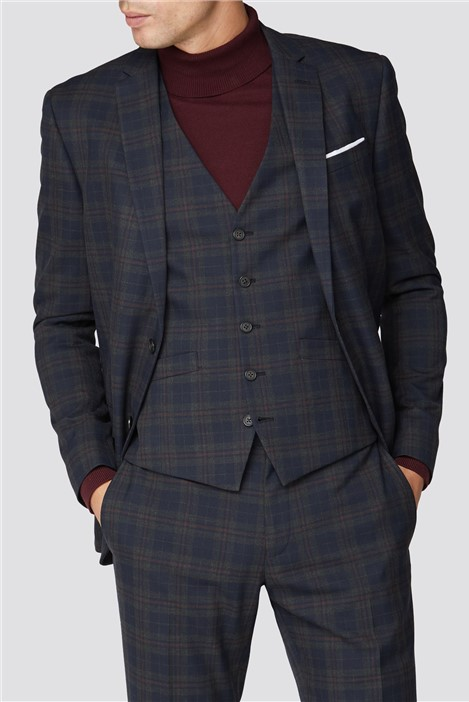 Ben Sherman Navy Red Check Slim Fit Suit