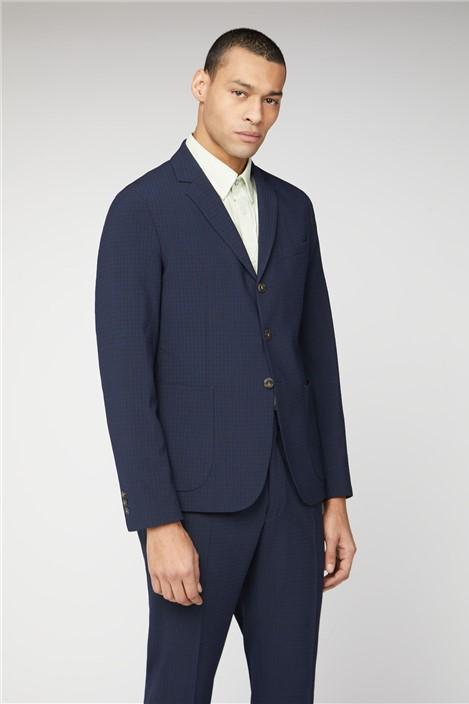 Ben Sherman Midnight Seersucker Check Camden Fit Suit