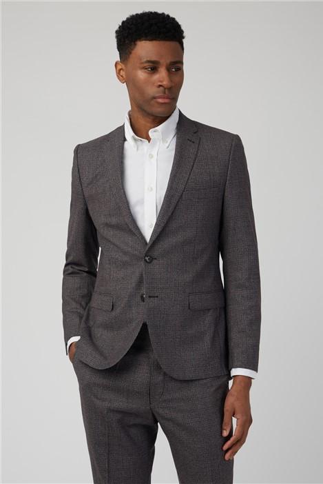 Ben Sherman Burnt Red Puppytooth Camden Fit Suit