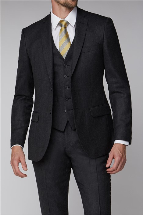 Racing Green Charcoal Texture Tailored Fit Suit