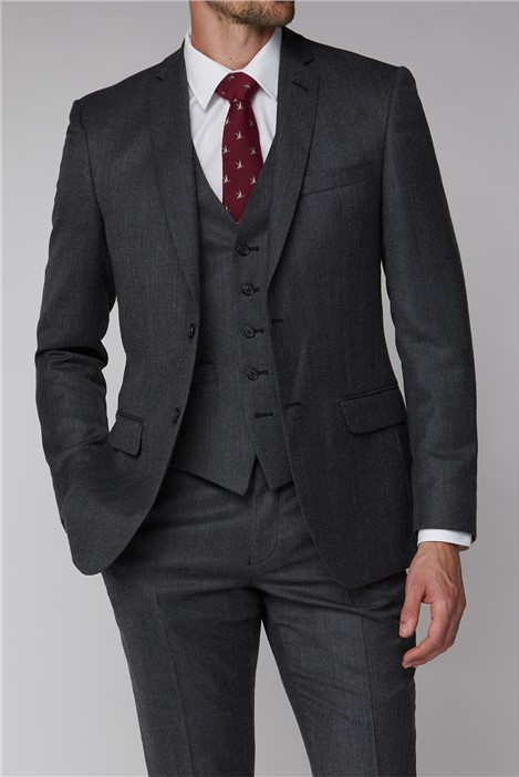 Racing Green Charcoal Texture Tailored Fit Suit Jacket