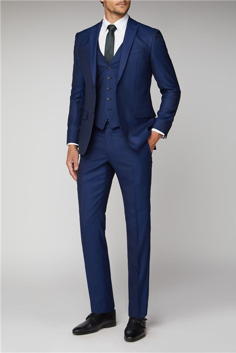 Racing Green Blue Texture Tailored Fit Suit