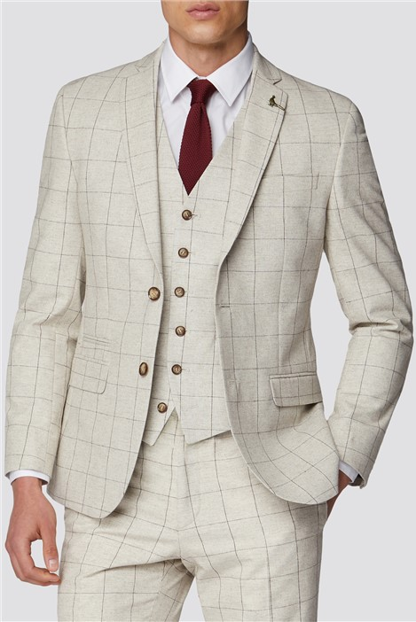 Racing Green Taupe with Berry Overcheck Slim Fit Tweed Suit