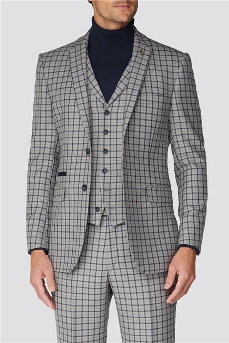 Racing Green Grey Navy Check Tweed Regular Fit Suit