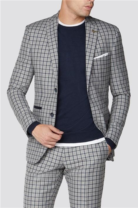 Racing Green Grey Navy Check Tweed Slim Fit Suit