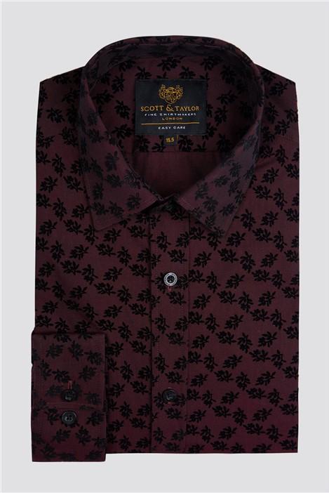 Scott & Taylor Wine Flock Paisley Shirt