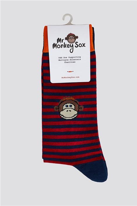 Mr Monkey Sox Red & Navy Stripe Socks