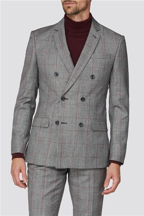 Alexandre Silver Label Alexandre of England Berry Prince of Wales Check Double Breasted Tailored Fit Suit Jacket