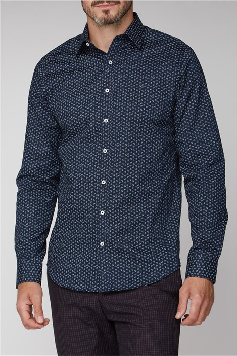 Jeff Banks Brit Navy Micro Paisley Print Shirt