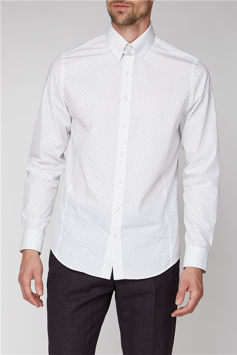 Jeff Banks Brit White Flower Print Shirt