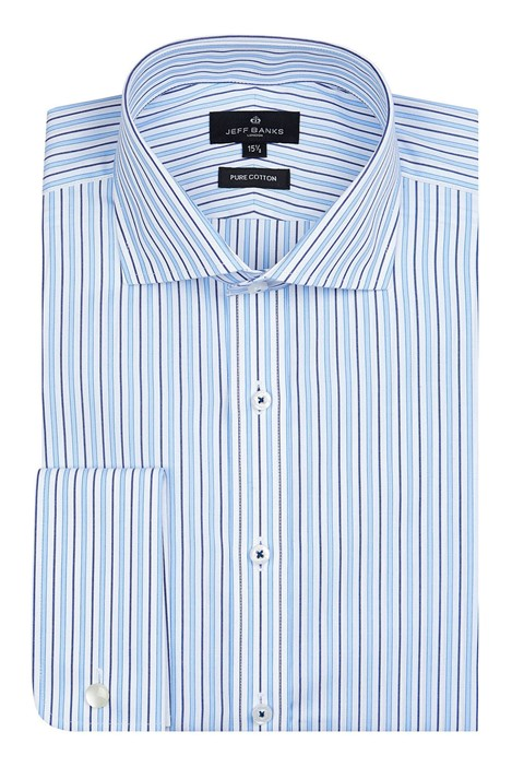 Jeff Banks London Blue Alternate Stripe Shirt