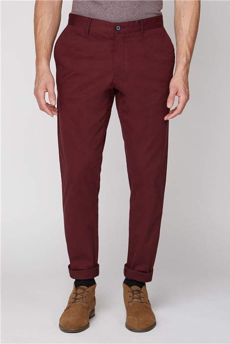 Jeff Banks Burgundy Stretch Chino Trouser