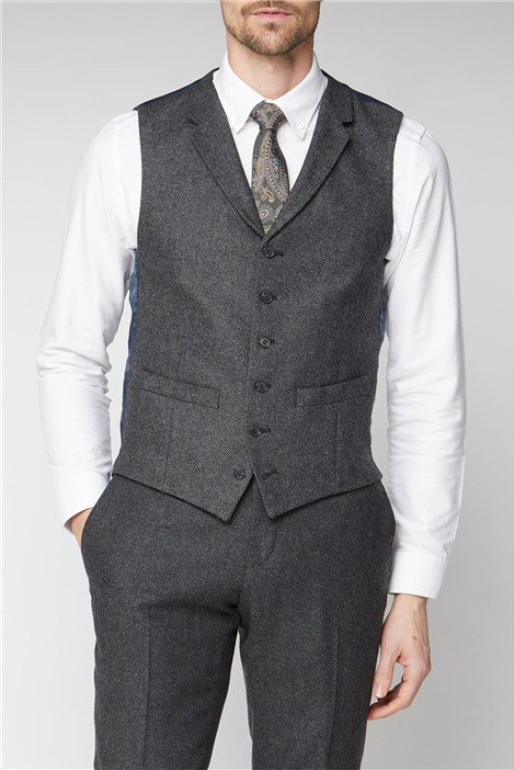 Racing Green Charcoal Donegal Tailored Suit Waistcoat