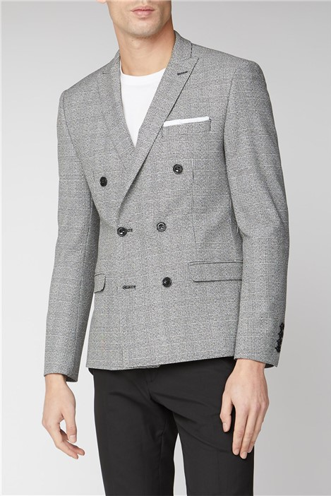 Limehaus Black and White Check Double Breasted Slim Jacket