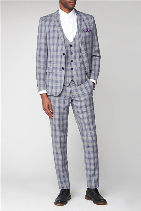 Marc Darcy Jack Grey Check Slim Fit Jacket