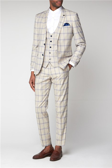 Marc Darcy Buxton Cream Check Slim Fit Jacket