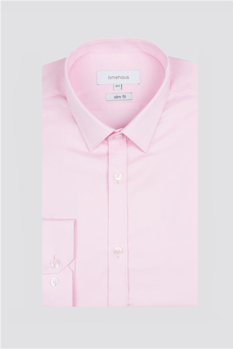 Limehaus Slim Fit Pink Poplin Single Cuff Shirt