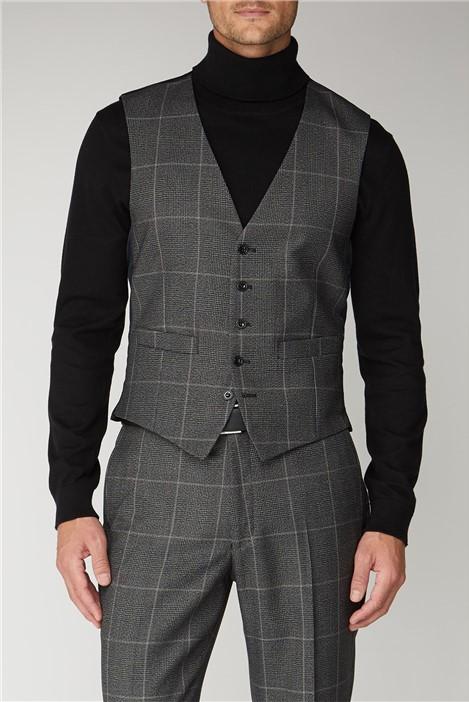 Scott & Taylor Grey Check Regular Fit Waistcoat