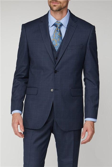 Scott & Taylor Navy Blue Broken Check Regular Fit Suit