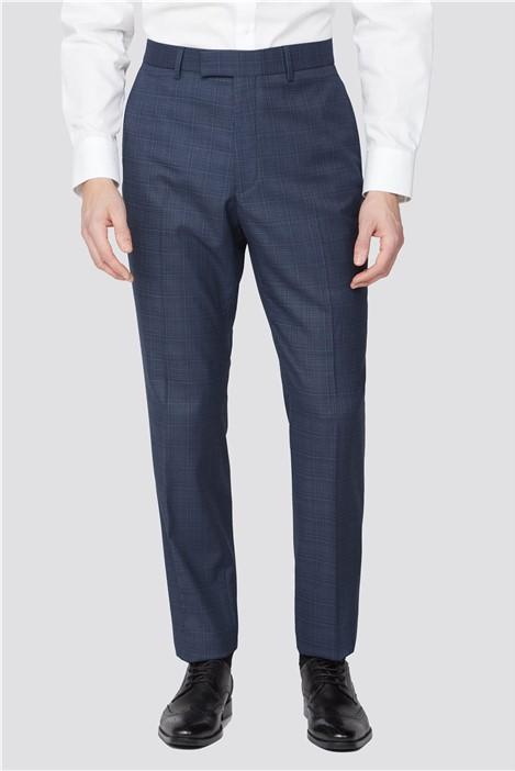 Scott & Taylor Navy Blue Broken Check Trousers