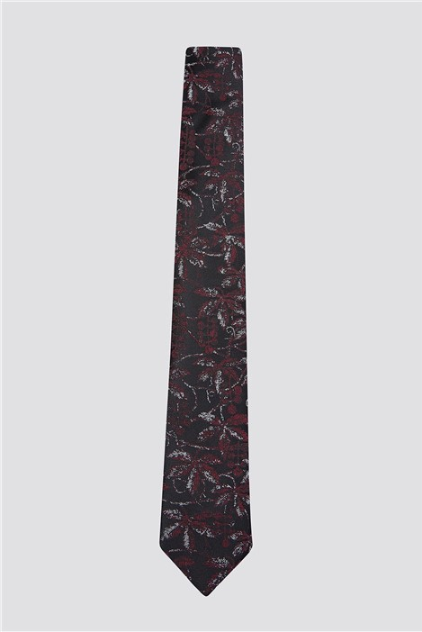 Racing Green Wine Scratch Leaf Print Tie