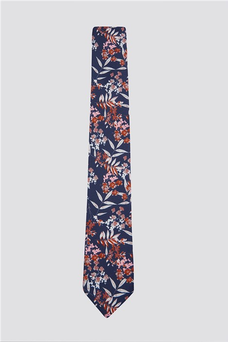 Limehaus Burnt Orange Autumnal Floral Print Tie