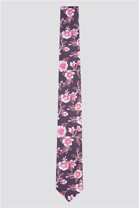 Limehaus Wine Hibiscus Floral Print Tie
