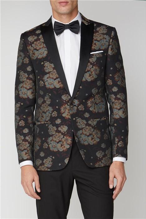 Limehaus Black Floral Jacquard Jacket