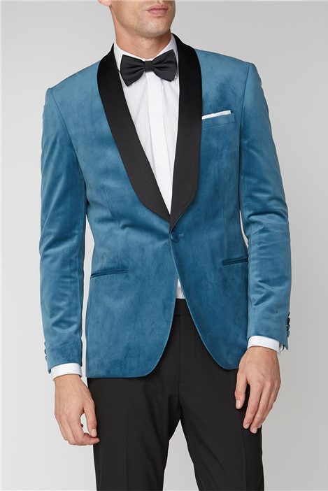 Limehaus Teal Slim Fit Mens Velvet Blazer