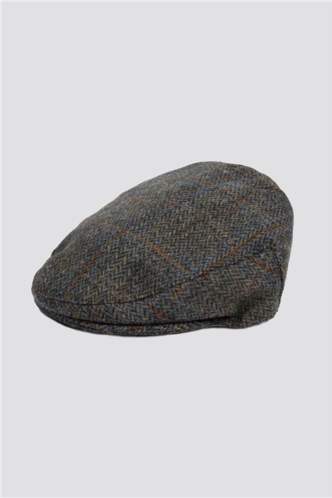 Racing Green Harris Tweed Green Check Flat Cap