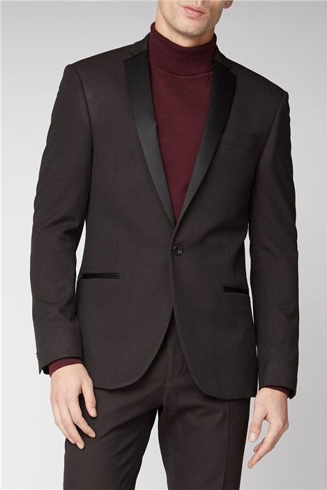 Limehaus Burgundy Texture Slim Suit